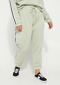 Plus Light Green Side Striped High Waisted Joggers