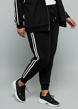 Plus Black Side Striped High Waisted Fleece Joggers