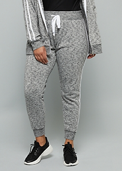 Plus Black Space Dye Side Striped High Waisted Fleece Joggers