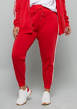 Plus Red Side Striped High Waisted Fleece Joggers