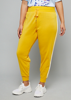Plus Yellow Side Striped High Waisted Fleece Joggers