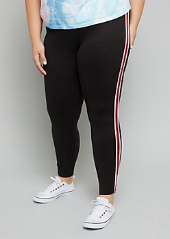 Plus Black Mid Rise Super Soft Side Striped Leggings