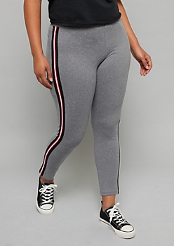 Plus Gray Side Striped Super Soft Leggings