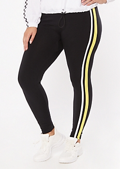 Plus Yellow Side Striped Super Soft Leggings