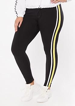 Plus Yellow Side Striped Super Soft Leggings