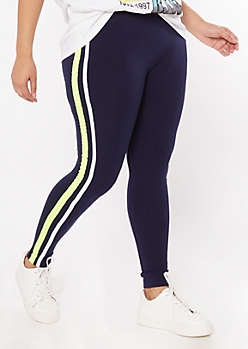 Plus Navy Side Striped Super Soft Leggings