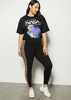 Plus Black Neon Side Striped Super Soft Leggings