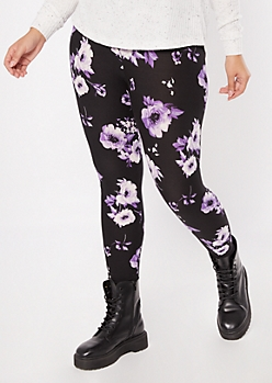 Plus Black Super Soft Rose Print Leggings