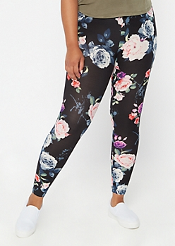 Plus Black Super Soft Floral Print Leggings