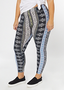 Plus Super Soft Blue Border Print Leggings