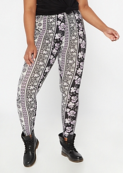 Plus Black Border Print Super Soft Leggings