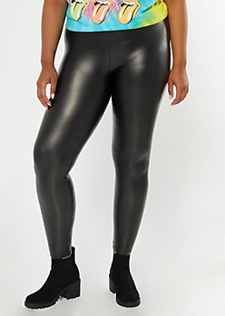 Plus Black Faux Leather Leggings