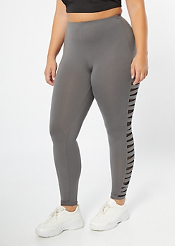 6e50e58ac5e6f0 Plus Gray Mesh Cutout Super Soft Leggings
