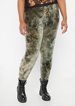 Plus Green Tie Dye Plush Leggings