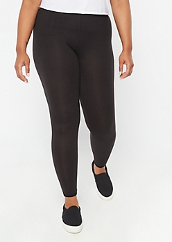 Plus Black Super Soft Lattice Back Leggings