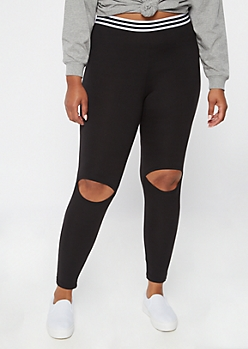 Black Cutout Knee Leggings