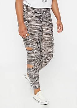 Plus Black Space Dye Cutout Super Soft Leggings