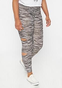 Plus Black Space Dye Cutout Super Soft Leggings