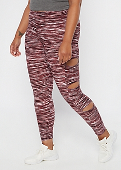 Plus Burgundy Space Dye Cutout Leggings