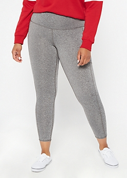 Plus Heather Gray High Waisted Cellphone Pocket Leggings