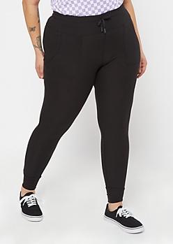 Plus Black Ribbed Knit Jogger Leggings