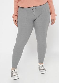 Plus Gray Ribbed Knit Jogger Leggings
