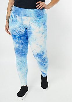 Plus Blue Tie Dye Super Soft Leggings