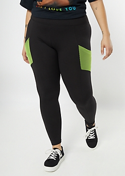 Plus Black Cell Phone Pocket Super Soft Leggings