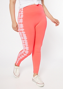Plus Neon Coral Tie Dye Tummy Control Leggings