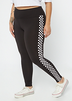 Plus Black Checkered Print Striped Wide Waistband Leggings