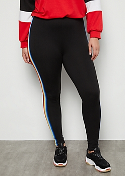 Plus Black Rainbow Side Striped Super Soft High Waisted Leggings
