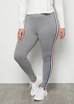 Plus Gray Rainbow Side Striped Super Soft High Waisted Leggings