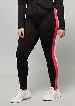 Plus Black Hot Pink Striped Super Soft High Rise Leggings