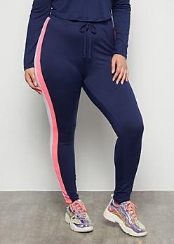Plus Navy Hot Pink Striped Super Soft High Rise Leggings