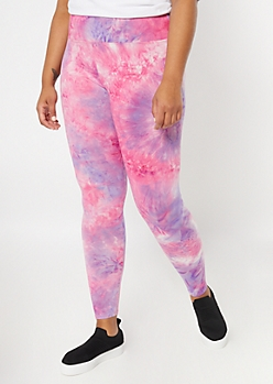 Plus Purple Tie Dye Super Soft Leggings