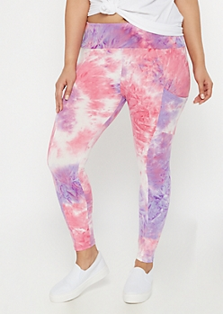 Plus Purple Tie Dye Super Soft Cell Phone Pocket Leggings