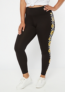 Plus Black Sunflower Checkered Print Super Soft Leggings