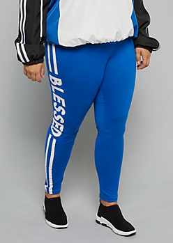 Plus Blue Blessed High Waisted Super Soft Leggings