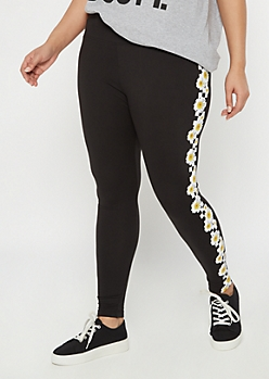 Plus Black Daisy Checkered Print Wide Waistband Leggings