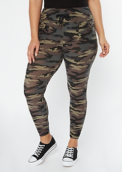 Plus Camo Print Drawstring Pocket Leggings