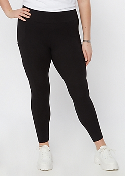 Plus Black Super Soft Mesh Side Leggings
