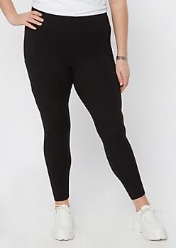 Plus Black Super Soft Mesh Side Leggings