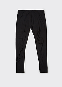 Plus Black Super Soft Ripped Leggings