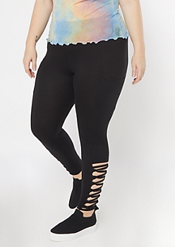Plus Black Cell Phone Pocket Lace Up Ankle Leggings