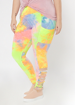 Plus Neon Tie Dye Cell Phone Pocket Lace Up Ankle Leggings