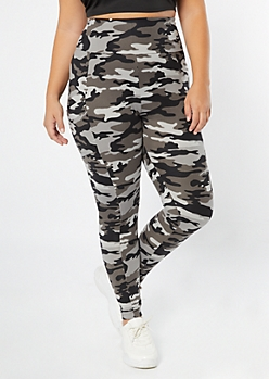 Plus Gray Camo Print Super Soft Cell Phone Pocket Leggings