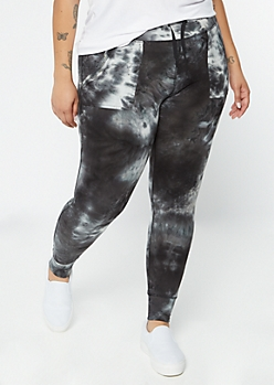 Plus Black Tie Dye Cell Phone Pocket Jogger Leggings