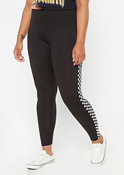 Plus Black Checkered Print Side Striped High Waisted Leggings