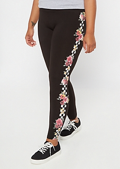 Plus Black Checkered Floral Print Leggings