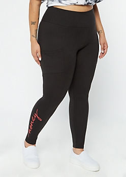 Plus Honey Black Cell Phone Pocket Leggings